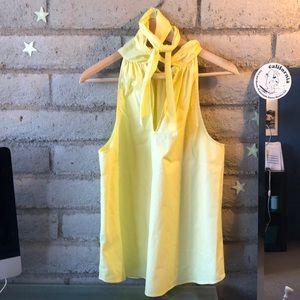 Yellow Sleeveless Cotton Tie-Neck Top